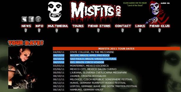 Banda Misfits se apresenta em são paulo